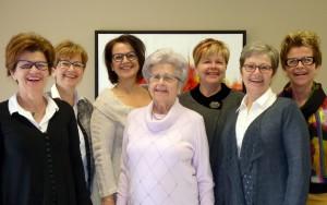 (De gauche à droite)Marthe, Louise, Luce, Monique, Andrée, Esther et Marguerite